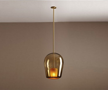 Handmade suspended light in hand blown coloured glass | Human Heritage
