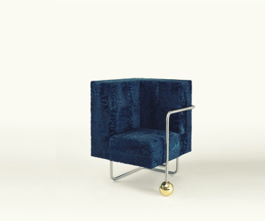 Armchair in Astrakhan, brass, chromed steel, heat blued steel | Human Heritage