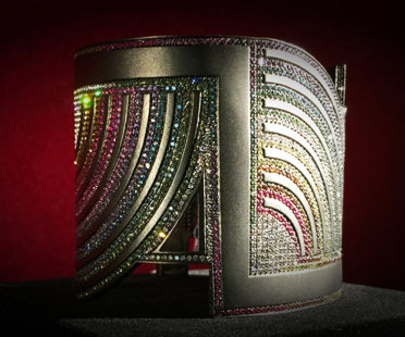 Blackened white gold cuff, diamonds and precious stones |Human Heritage