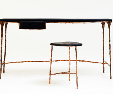 Handmade luxury desk in burnt oak, copper-covered metal | Human Heritage
