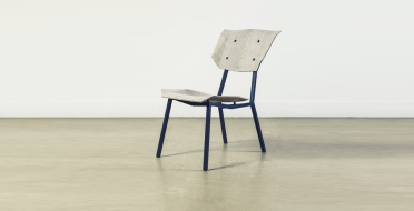 Chair in oak veneer, NewspaperWood veneer and steel | Human Heritage