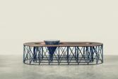 Coffe table, European walnut, black patina metal and marble | Human Heritage