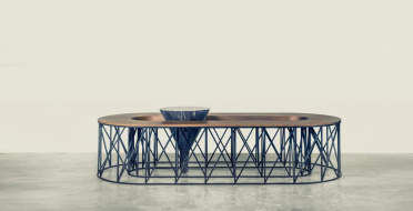 Coffe table, European walnut, black patina metal and marble | Human Heritage