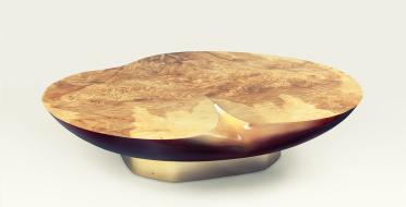 Coffe table, Apple-shaped, burr european olive ash, lacquered fiberglass | Human Heritage