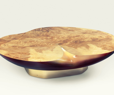 Coffe table, Apple-shaped, burr european olive ash, lacquered fiberglass | Human Heritage