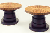 Coffee table, top in zebrano, foot lacquered and varnished, thin brass | Human Heritage