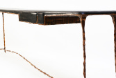 Console in burnt oak, copper-covered metal | Human Heritage