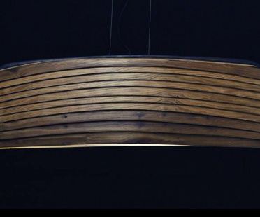 Hanging Lamp in oak or bangkiraï, and polyester | Human Heritage