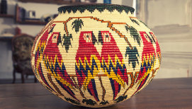 Hosig Di Basket TROPIC, black palm tree, made in Panama, unique piece | Human Heritage