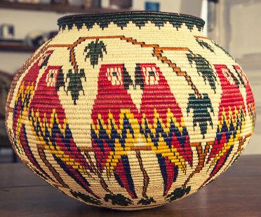 Hosig Di Basket TROPIC, black palm tree, made in Panama, unique piece | Human Heritage