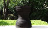 Handmade side table in burnt wood, matte black finish | Human Heritage